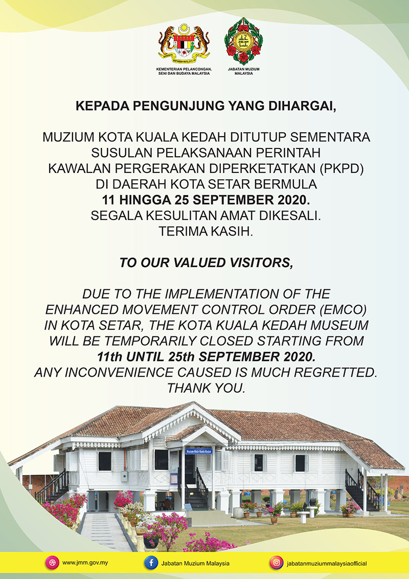 Kota Kuala Kedah Museum Will Be Temporarily Closed Due To EMCO