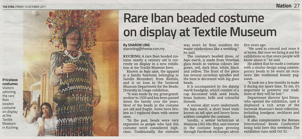 Rare Iban beaded costumr on display at Textile Museum