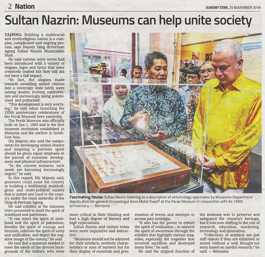 Sultan Nazrin; Museums can help unite society