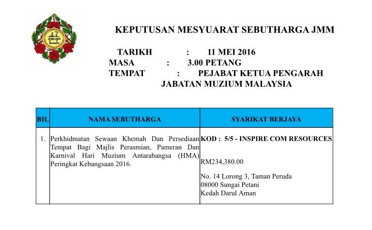 Keputusan Mesyuarat Sebutharga Bil. 8/2016
