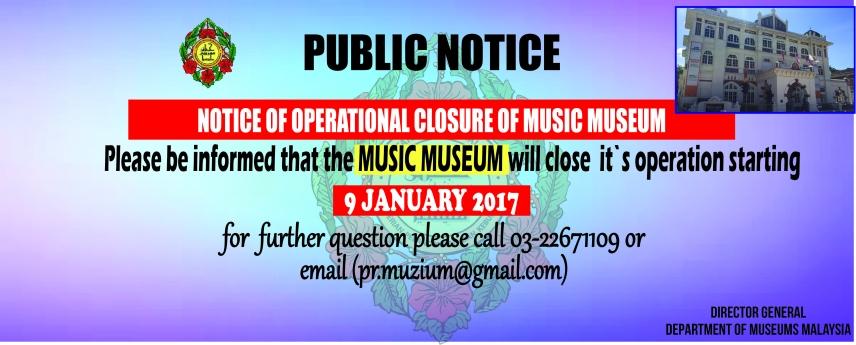 Notice of Operational Closure of Music Museum
